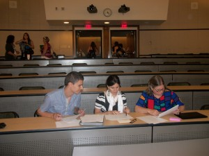 Judges for the SUCCEED Final Debate prepare. L-R: Rodrigo Belo, Ines Azevedo, Judith Hallinen