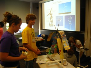 Ian wonders about his windmill blades. L-R: Mallory Flohr, Ian Asenjo