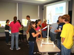 Participants create windmills